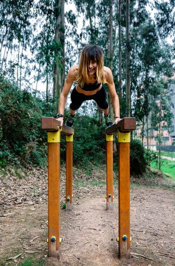 Woman exercising at park