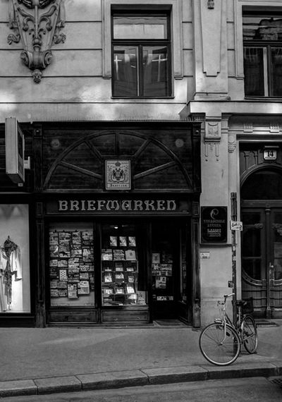 Shop front, Vienna. Bicycle Architecture Built Structure Transportation Travel Building Exterior Day Outdoors Travel Destinations No People City Wien Vienna Oesterreich Austria Black And White Shop Stories From The City