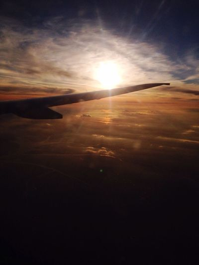 Travel From An Airplane Window Sunset_collection Hello World