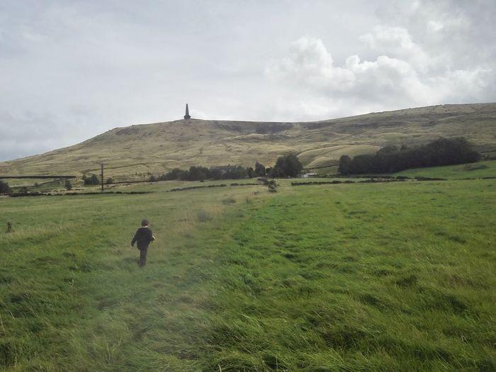Rear view of man walking on grassy field