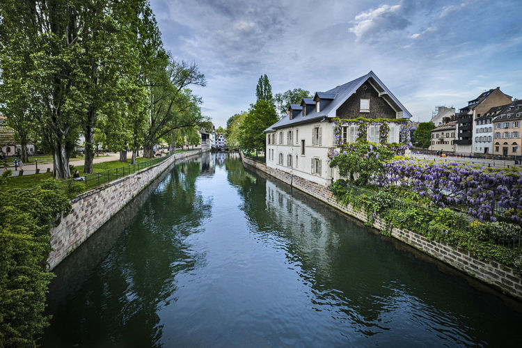Canal amidst trees and buildings against sky