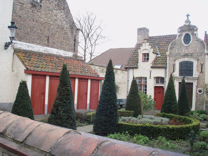 Architecture Bruges Brugge Building Exterior Courtyard  Doors Europe Garden Landscape Manicured Garden Nature Old Outdoors Quaint  Red Travel Trees