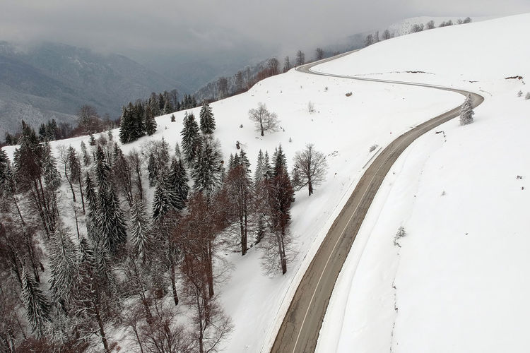 Aerial view of Transalpina mountain road in winter Curves Drone  Romania Transfagarasan Road Winter Aerial Forest Landscape Mountain Mountain Road Nature Snow Snowing Transalpina Tree Winter