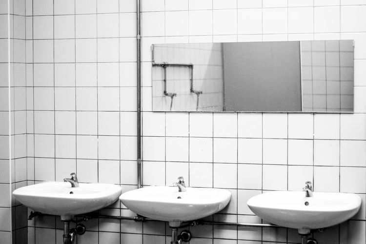 Bathroom Sink Black And White High Contrast Bnw Mirror No People Public Bathroom W.c. Water Pipes
