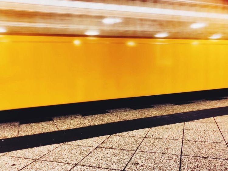 Transportation Yellow Sunlight Rail Transportation Illuminated Shadow Outdoors No People Day Subway Reflection Motion Blurred Motion
