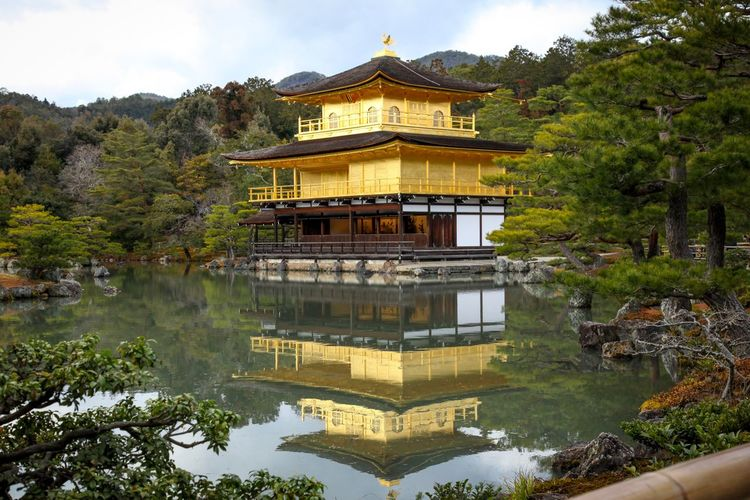 Kinkakuji Temple Tample Architecture Built Structure Tree Building Exterior Travel Destinations Water Cloud - Sky History No People Outdoors