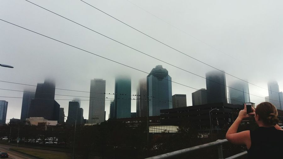 Downtown Houston Ci Sky Day Outdoors Foggy Morning Girl With Phone City Life