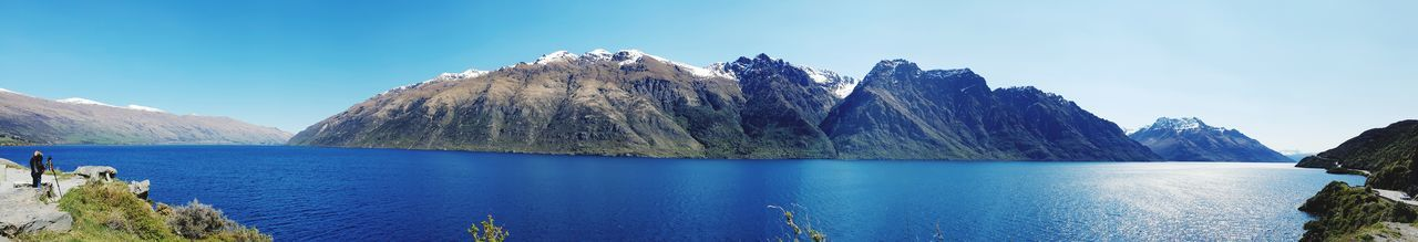 Queenstown NZ New Zealand New Zealand Scenery Lake Alps Water Mountain Blue Sky Rocky Mountains Panoramic Lakeside Physical Geography Eroded Mountain Range Natural Landmark Geology Countryside Rock - Object