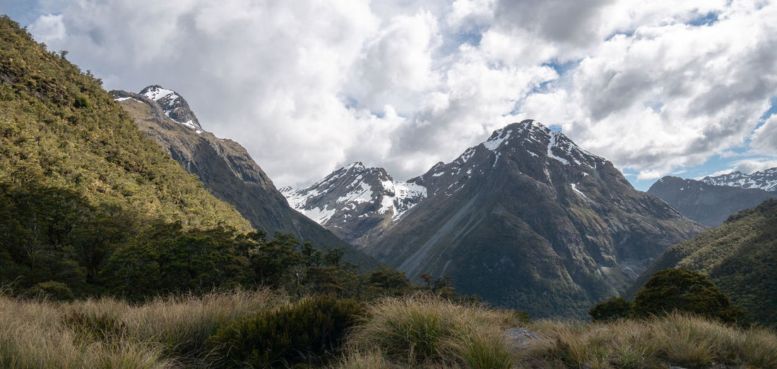 Mountains panorama during overcast day, shot on caples track, new zealand