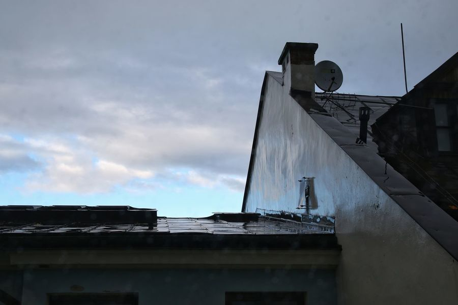 Architecture Built Structure Building Exterior Cloud - Sky Sky Outdoors No People Day City Rainy Days Wet Roof Rooftop Reflection Blue Weather Photography Changing Seasons Moody Weather Moody Sky Moody Monday Canon 70d
