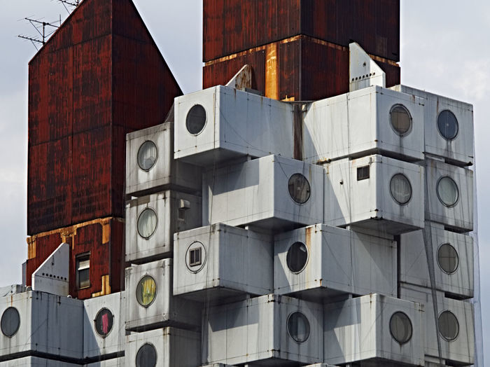 Architecture Array Building Building Exterior Built Structure City Cube Shape Cubes Day Low Angle View No People Outdoors Round Window Sky Stack Of Boxes The Architect - 2017 EyeEm Awards