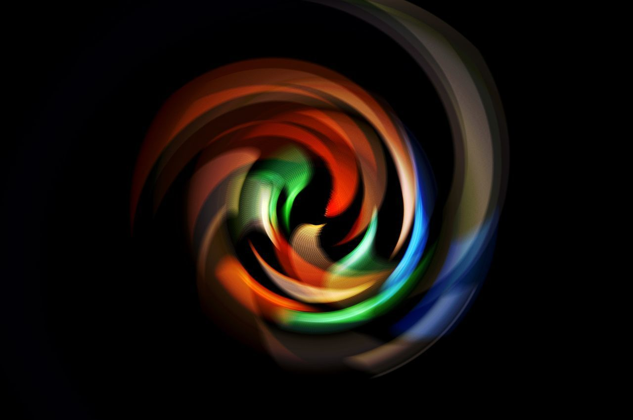 multi colored, studio shot, indoors, black background, no people, close-up, pattern, creativity, geometric shape, shape, art and craft, circle, abstract, motion, glowing, illuminated, still life, light - natural phenomenon, swirl, reflection, glass, abstract backgrounds