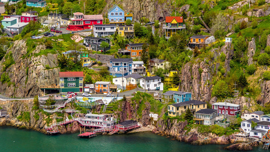 High Angle View Of Houses By Sea At St. John'S