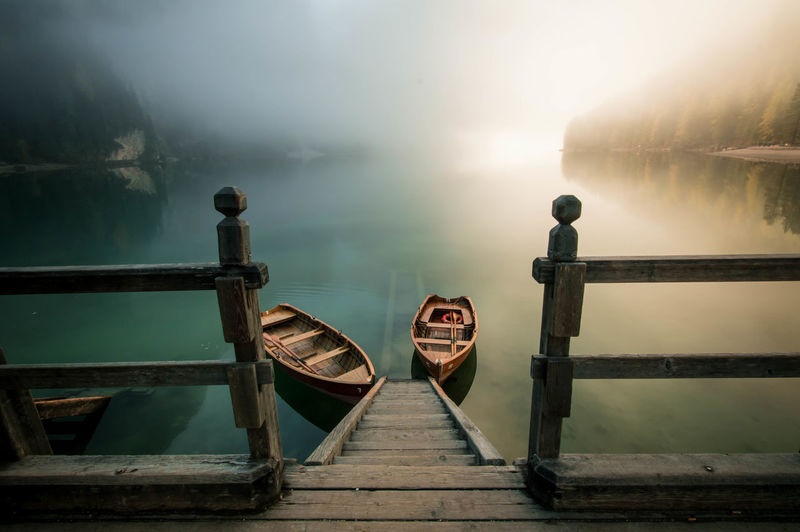 Like in fairy tales. Water Calm Fog Lake Sitting Solitude Nautical Vessel Transportation Tranquility Tranquil Scene Boat Foggy Idyllic Scenics Remote Trentino  Trentino Alto Adige Braies Lake Standing Water Reflection