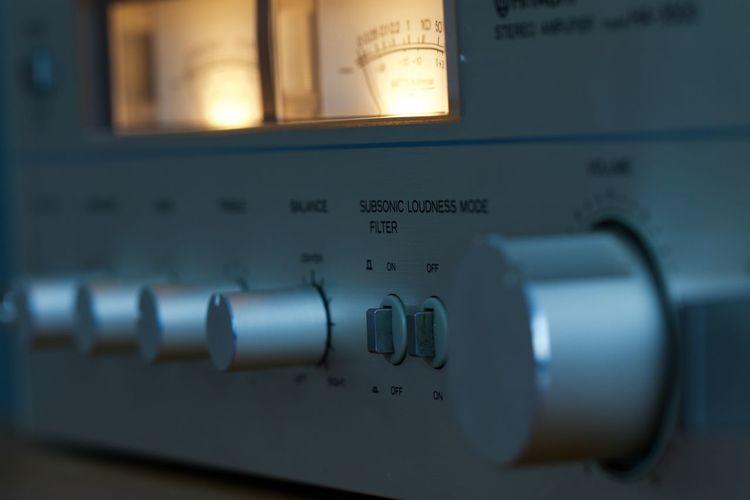 Close-up of amplifier bass