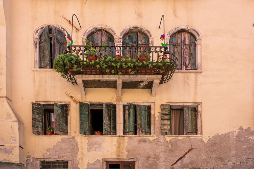 House facade in Venice, Italy. Façade House Facade Old Town Venice, Italy Arch Architecture Balcony Building Building Exterior Built Structure Day Facade Building Flower Flower Pot Flowering Plant Growth House House Facades Houseplant Italy Low Angle View Nature No People Old Outdoors Plant Potted Plant Venice Wall Wall - Building Feature Window Window Box