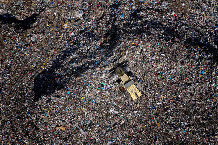 High angle view of garbage on water