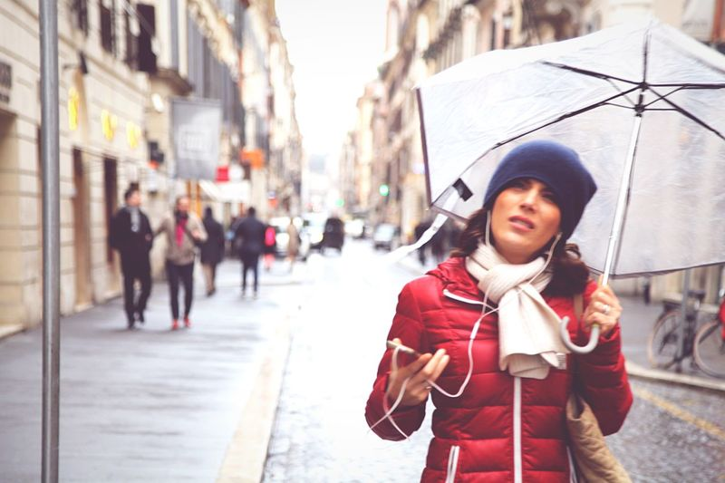 Streetstyle Streetphotography Urban Photography Candid Portrait Woman Umbrella Rain Street City City Street Child City Life Outdoors People One Person Portrait Road Winter Children Only Day Adult Young Adult Fashion Stories