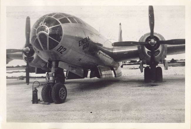 The Enola Gay, the United States Air Force B-29 bomber that dropped the atomic bomb on Hiroshima, Japan, on August 6th, 1945. B-29 Bomber Enola Gay Famous Hiroshima, Japan South Pacific Tinian Island World War 2 Airplane Black And White Cockpit Front View Historical Mariana Islands Military No People Old Photograph Propeller Silverplate United States Air Force War Wheels