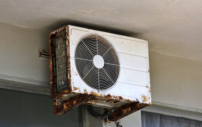 Low angle view of an old air conditioner