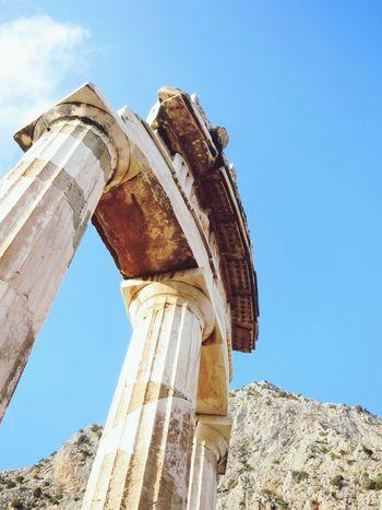 EyeEm Selects Old Ruin Ancient History Ancient Civilization Archaeology Architectural Column The Past Low Angle View Damaged Architecture Travel Destinations Day Blue Built Structure Tourism Abandoned Travel No People Outdoors Sky