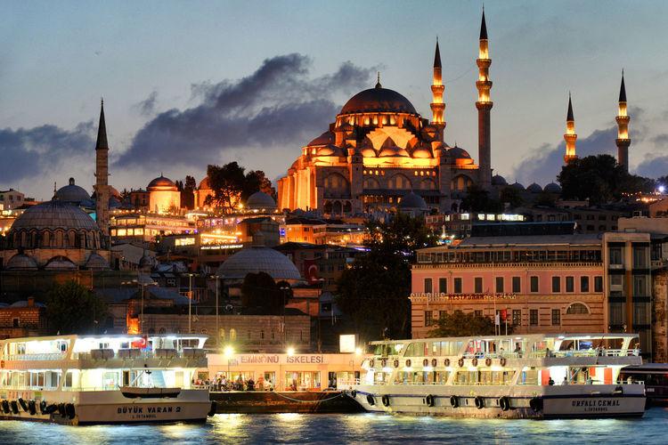 Oriental Dusk Architecture Sky Water City Illuminated Travel Cityscape Outdoors Evening Sunset Dusk Mosque Ships Istanbul Turkey Travel