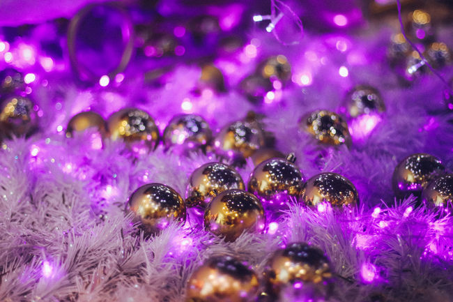 Purple and gold Best Christmas Lights Christmas Gold Illumination Light Ornaments Purple Purple And Gold Under The Christmas Tree
