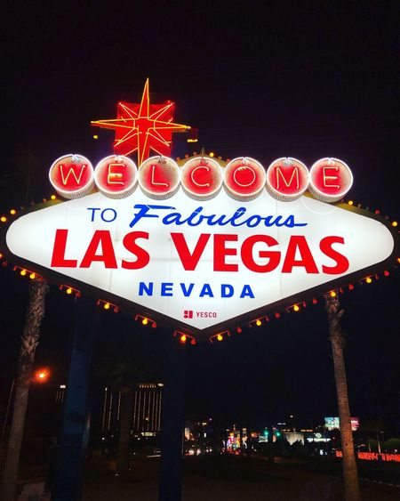 Las Vegas Illuminated Night Text Western Script Communication Arts Culture And Entertainment Sign Architecture Gambling Neon No People Built Structure Casino City Travel Destinations Building Exterior Welcome Sign Lighting Equipment Travel Sky