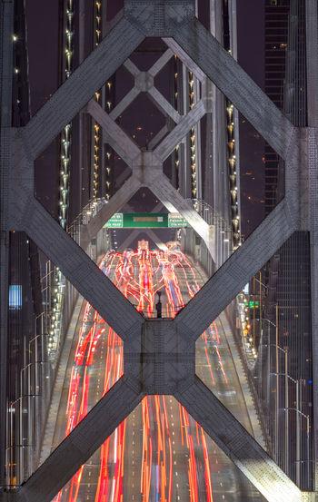 Close-up bay bridge traffic