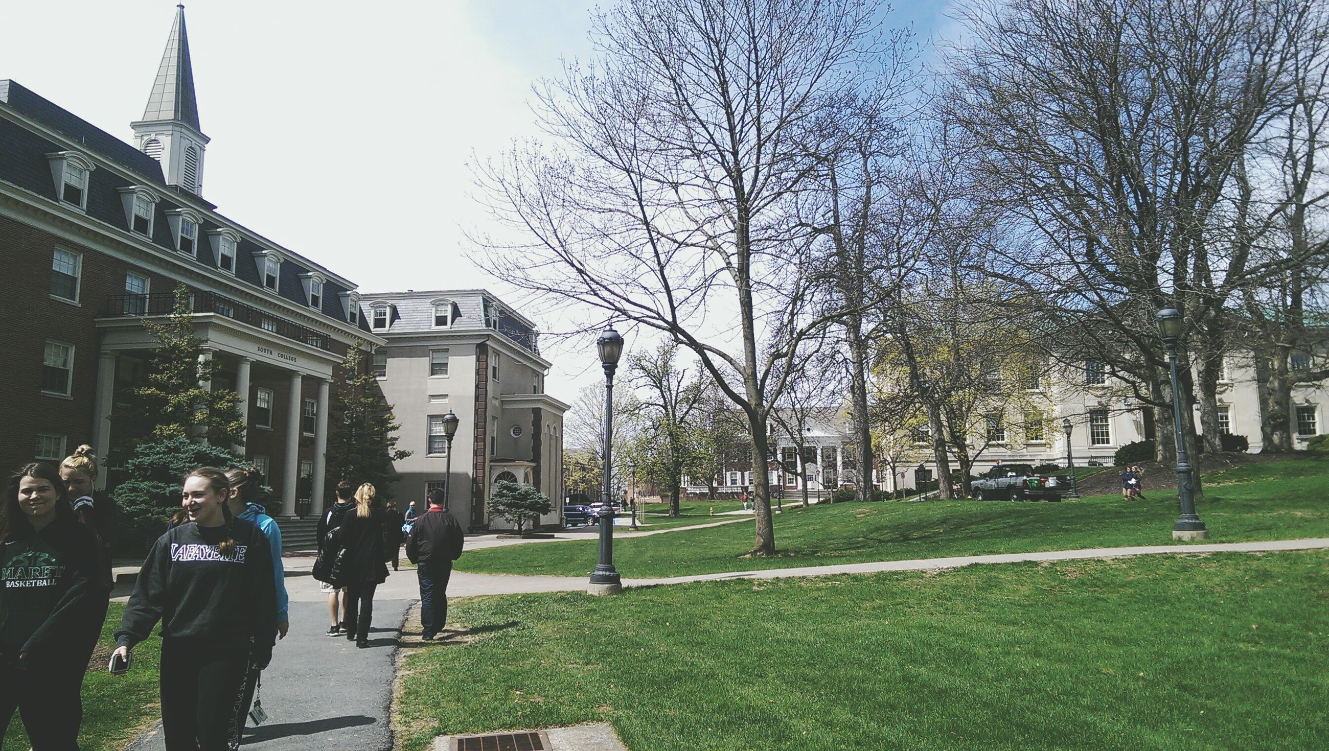 grass, tree, building exterior, men, person, large group of people, architecture, lifestyles, built structure, leisure activity, walking, park - man made space, lawn, sky, city, green color, day, city life, bare tree