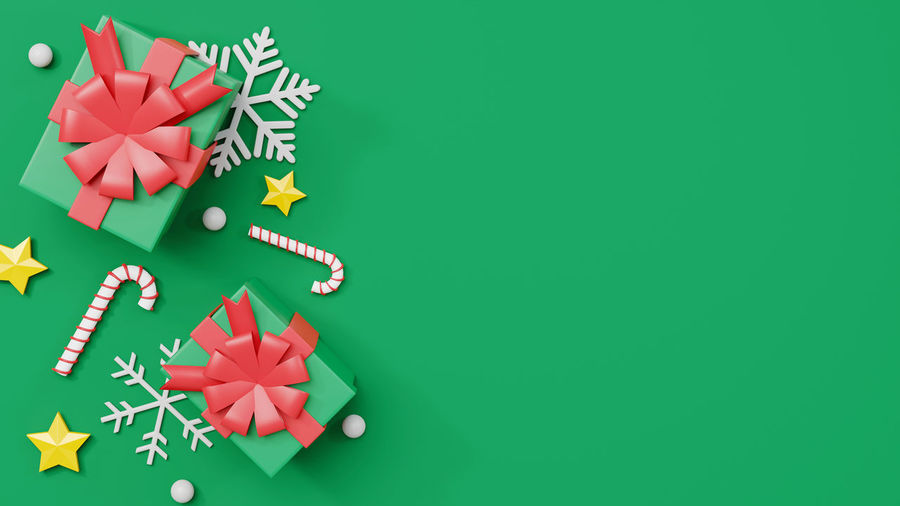 High angle view of christmas decoration on paper