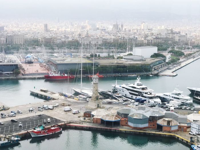 Barcelona, Spain Barcelona Port Water Architecture Building Exterior Transportation City Nautical Vessel Built Structure Harbor High Angle View Ship Moored Cityscape Pier Sea No People