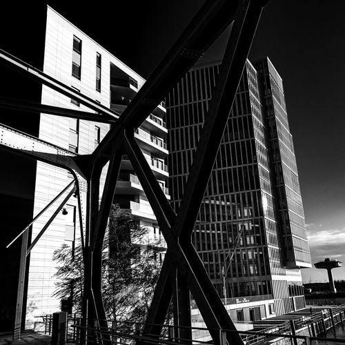 modern buildings Blackandwhite Bnw Bridge Hafencity Hamburg Built Structure Architecture Building Exterior Low Angle View Building City Connection Sky Bridge - Man Made Structure No People Transportation Nature Day Metal Outdoors Modern Office Building Exterior Office Skyscraper