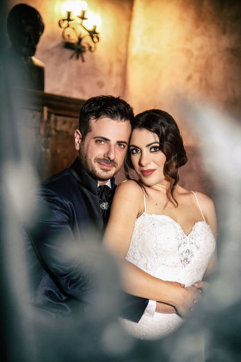 Adult Beautiful Woman Bride Celebration Couple - Relationship Emotion Event Life Events Love Men Newlywed Positive Emotion Real People Smiling Togetherness Two People Wedding Wedding Ceremony Wedding Dress Young Adult Young Men Young Women