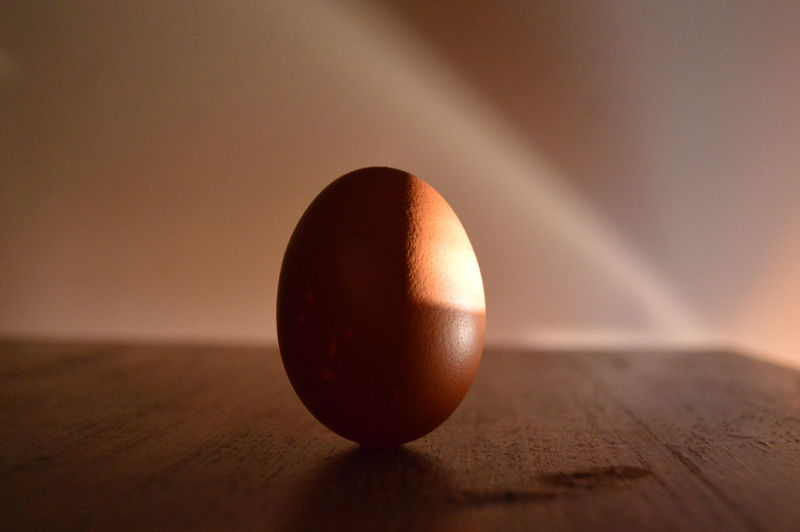 Close-up of egg on table