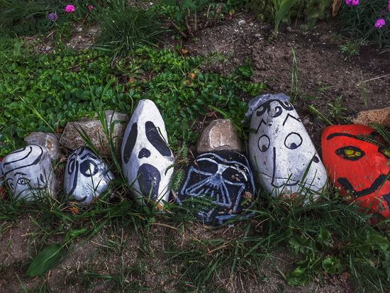 Funny stones Stones Decoration High Angle View Art And Craft Grass ArtWork