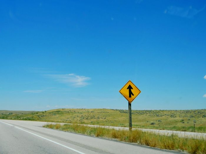 Life is full of merges. Check This Out Roadsign Highway On Ramp Blue Sky Yellow Sign Plains Wyoming Landscape Panasonic Lumix Dmc-Gx8 Road Trip Travel Photography Travel Vacation Showcase July Paint The Town Yellow