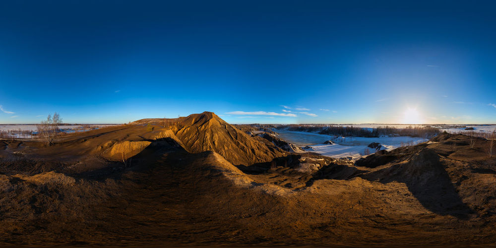 Clay hills quarry at sprig sunset spherical 360 degree panorama in equirectangular projection.