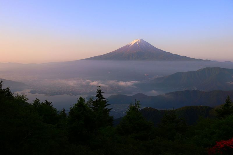 Morning Sky Morning Mountain Peak Mountain View Copy Space Backgrounds Japan Mountain Beauty In Nature Scenics - Nature Sky Volcano Tree Tranquil Scene Outdoors Travel Destinations Landscape No People Environment Mountain Peak Plant Tranquility Non-urban Scene Nature Land Travel Sunset