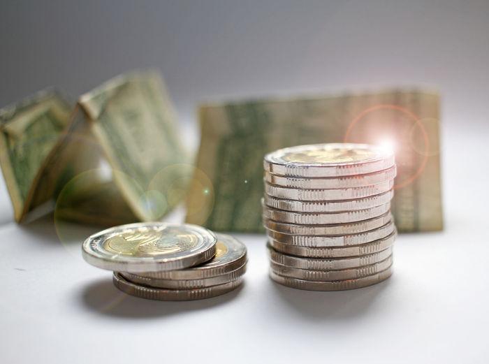 Close up coins