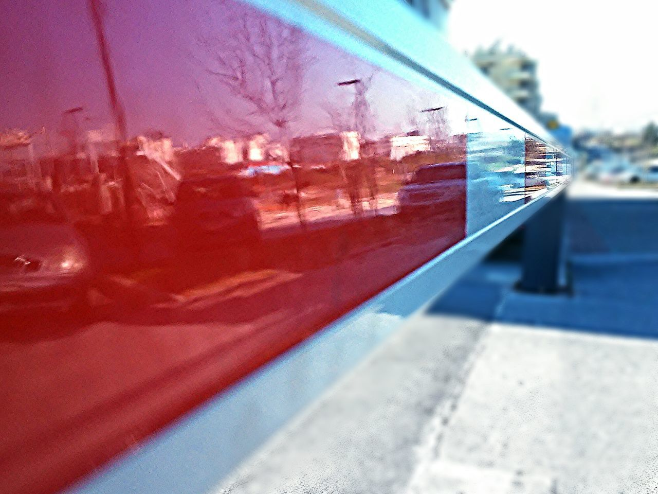 Close-Up Of Boom Barrier With Reflection