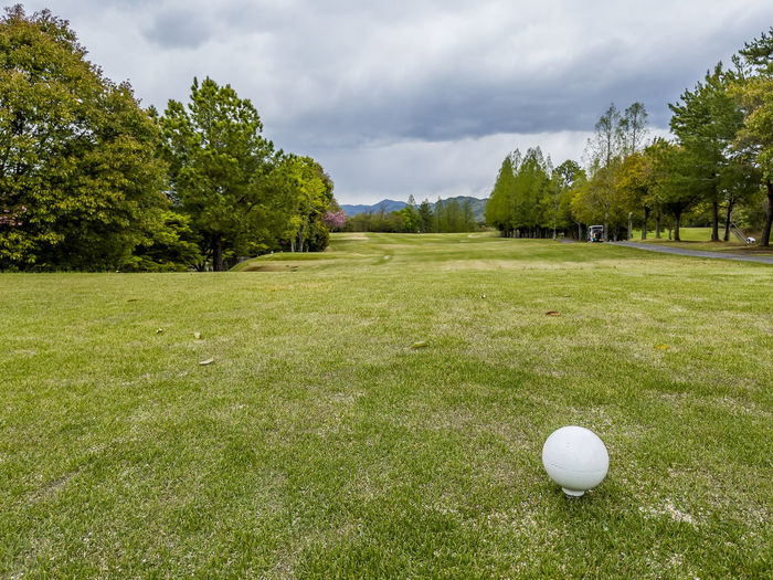 View of golf ball on field against sky