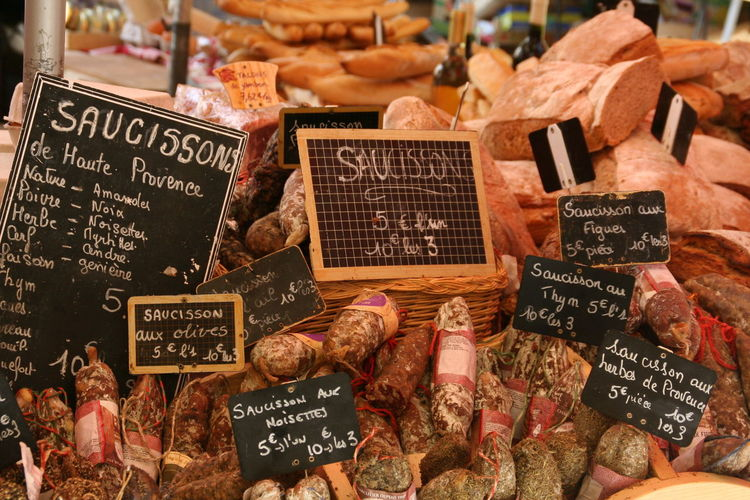 Communication Display Food Food And Drink Large Group Of Objects Market Market Stall Price Tag Retail  Sale Variation Provence
