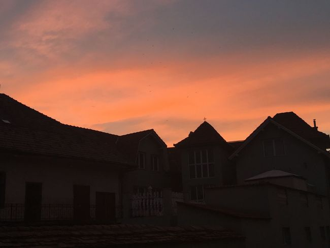 Sunset Architecture Sunset Sky Building House Orange Color Nature