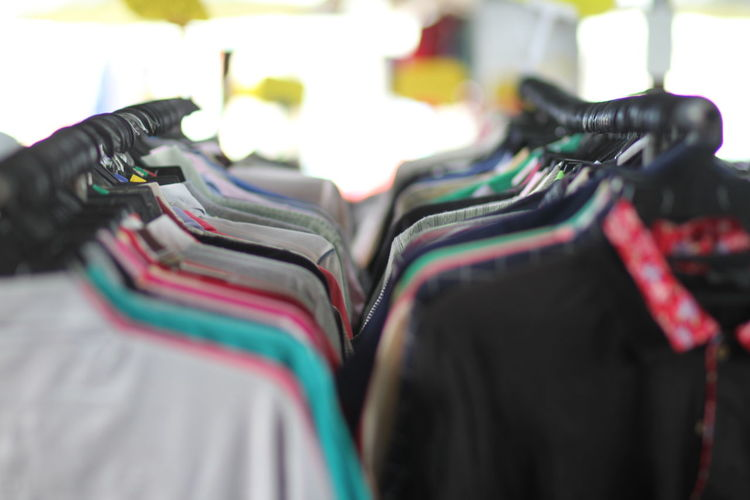 Close-up of clothes for sale in market