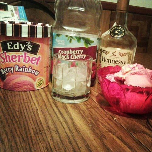 After a wonderful day and an even better evening, it's time for a nightcap! Hennessey CranberryBlackcherry Edy 'sIcecream BerryRainbowSherbet