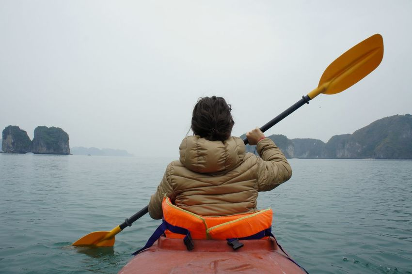 Adult Adults Only Beach Beauty In Nature Full Length Ha Long Bay Halong Halong Bay Vietnam Halongbay HalongbayCruise Kayak Kayaking Lake Leisure Activity Men Nature One Person Only Men Outdoors People Rear View Scenics Sitting Vacations Water