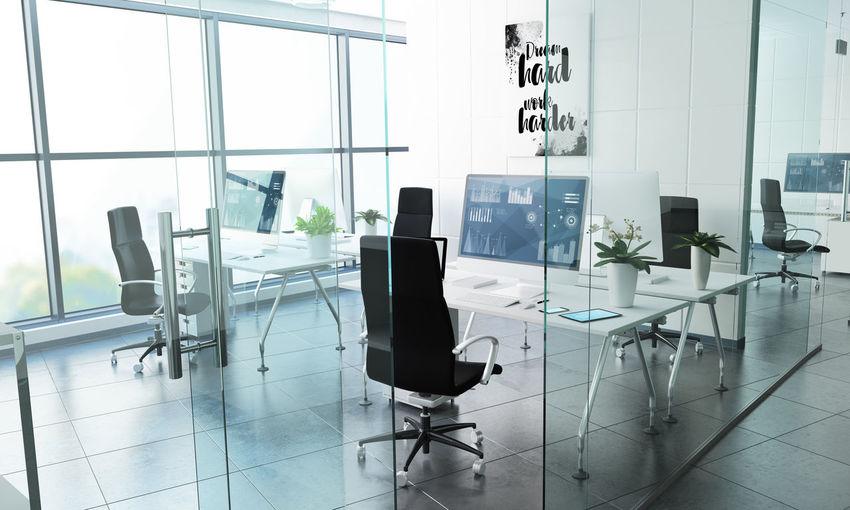 Empty board room in office