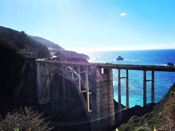 Sea Horizon Over Water Scenics Built Structure Cliff Beauty In Nature Outdoors Bixby Bridge Blue Sky Clear Sky Tranquil Scene Tranquility Water Shore Pacific Coast Highway Nature California United States