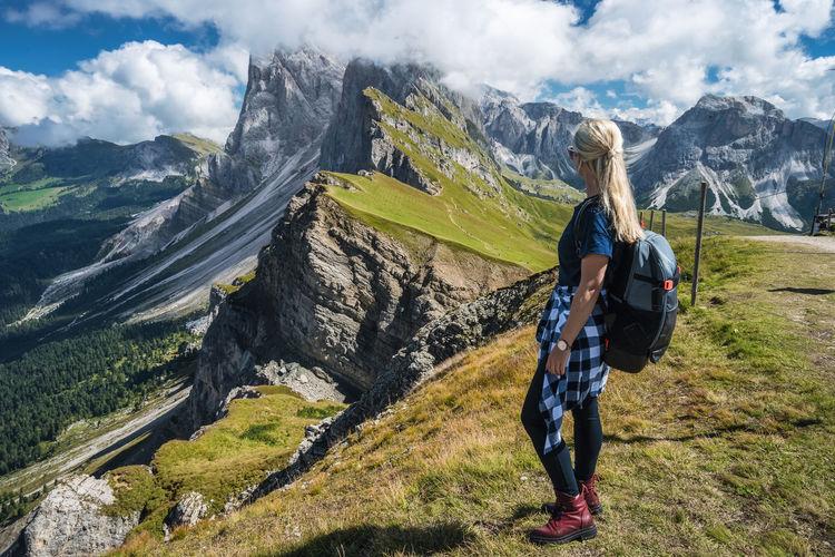 Full length of man climbing on mountain